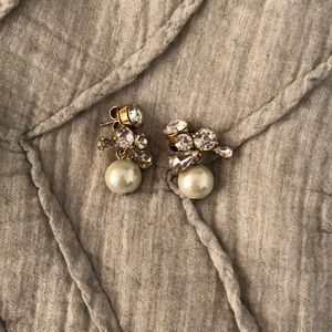Jcrew pearl and rhinestone earrings